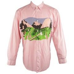 COMME des GARCONS Size XL Pink Polka Dot Forest Print Cutout Long Sleeve Shirtq