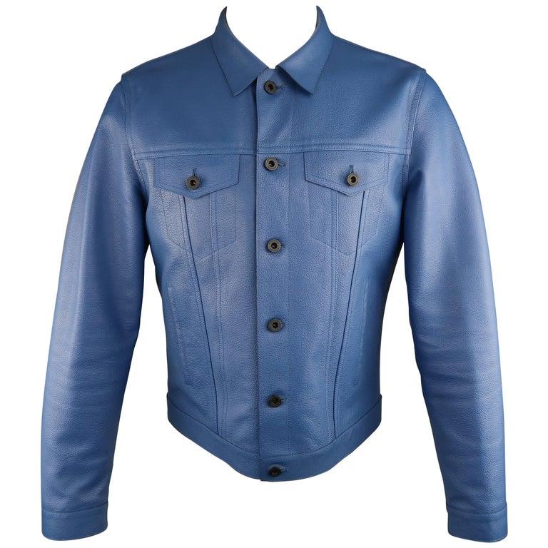 Men's BURBERRY PRORSUM Trucker Jacket Siz42 Royal Blue Pebbled Lambskin Leather