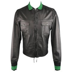 Lanvin Leather Jacket - Black Leather Fringe Trim Green Collar Bomber Coat