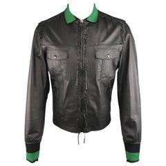 Men's LANVIN Bomber Jacket  Size 42 (L) Black Leather Fringe Trim Green Collar