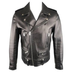 Saint Laurent Men's Black Lambskin Leather Moto Biker Jacket