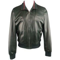 Gucci Men's Forest Green Leather Striped Collar Bomber Jacket
