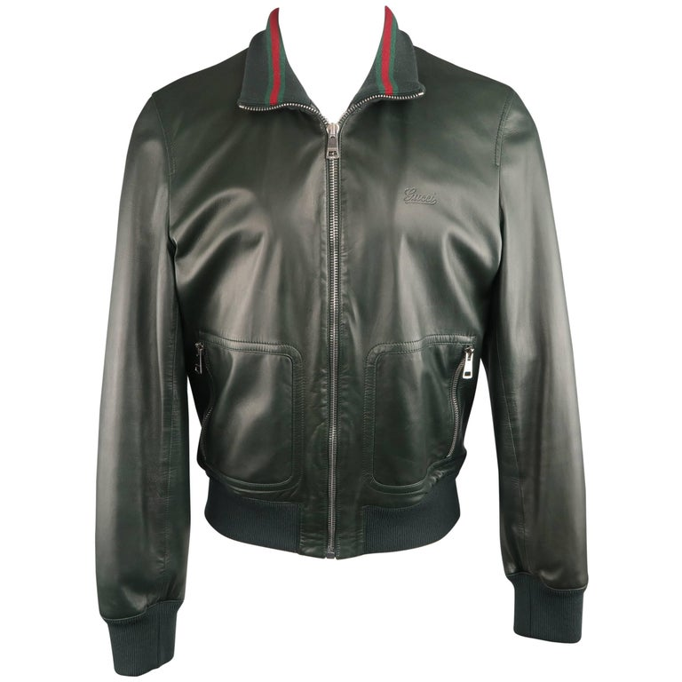8ddbce1aa38 Gucci Men s Forest Green Leather Striped Collar Bomber Jacket at 1stdibs