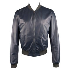 Men's DOLCE & GABBANA Jacket - Bomber Size 42 Navy Lambskin Leather Gray Cuff
