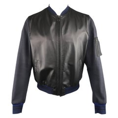 Men's LANVIN Jacket Size 42 Black & Charcoal Leather & Canvas Blue Cuff Bomber