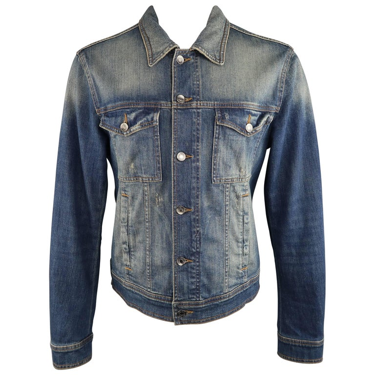 DOLCE & GABBANA 42 Navy Dirty Wash Distressed Denim Trucker Jacket
