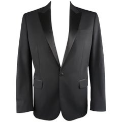Men's DSQUARED2 44 Regular Black Wool Silk Peak Lapel Tuxedo Sport Coat