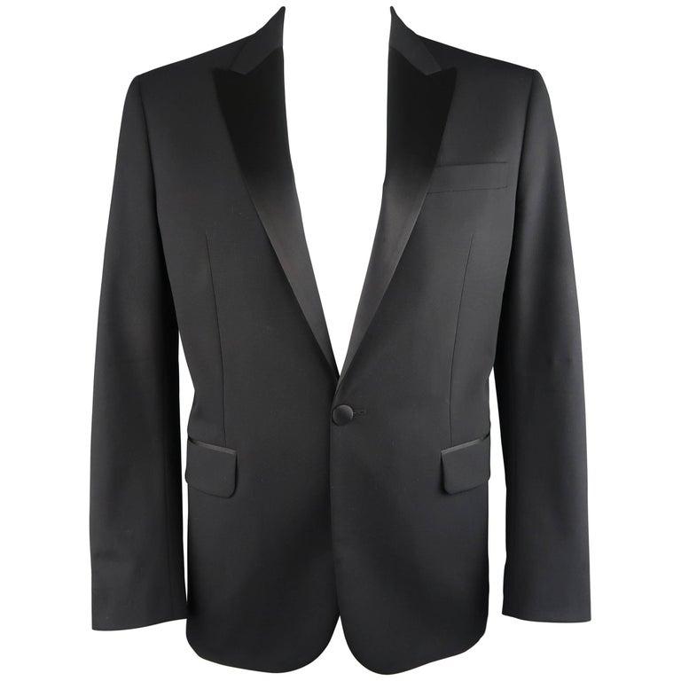 Men's DSQUARED2 44 Regular Black Wool Silk Peak Lapel Tuxedo Sport Coat