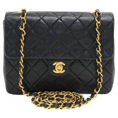 """Chanel Vintage 8"""" Flap Black Lambskin Quilted Leather Mini Shoulder Bag"""