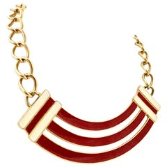 Monet Vintage Gold and Enamel Chain Link Necklace