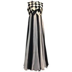 1960s Sarmi Black & White Harlequin Silk Ribbon & Chiffon Evening Gown