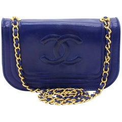 """Chanel Vintage 8"""" Blue Lambskin Leather Mini Shoulder Flap Bag"""