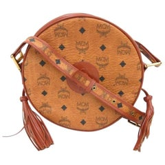 MINT. Vintage MCM brown monogram round Suzy Wong shoulder bag with brown leather