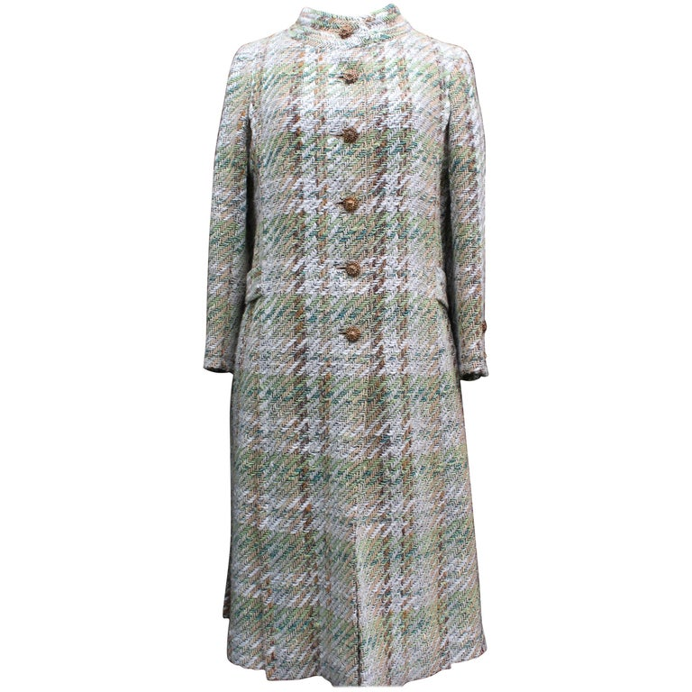 Chanel Haute Couture green and brown wool tweed set, 1960s
