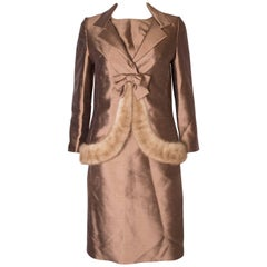 Vintage Gold Silk Dress and Jacket with Fur Trim