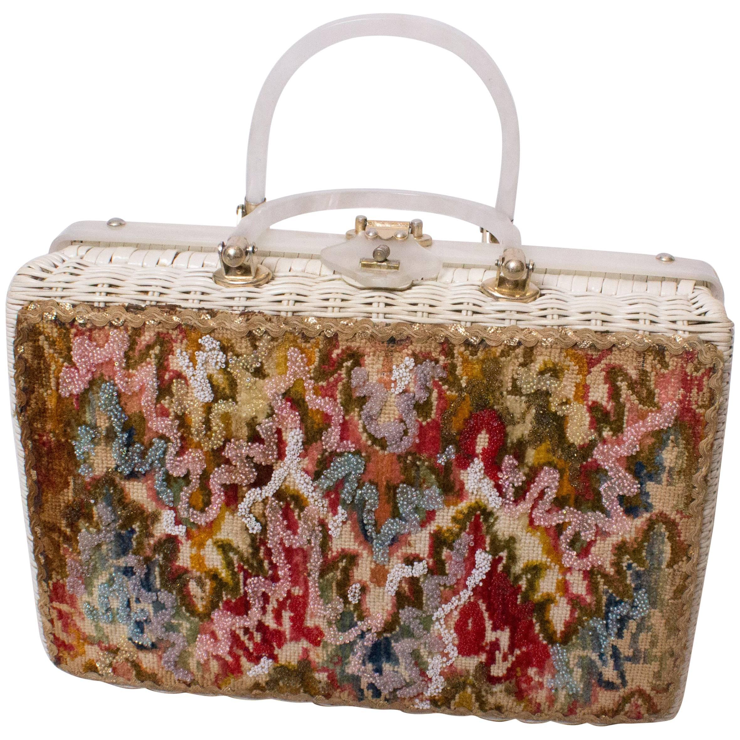 1stdibs 1950s Beaded & Wicker Floral Basket Novelty Bag 5nY8EqZm