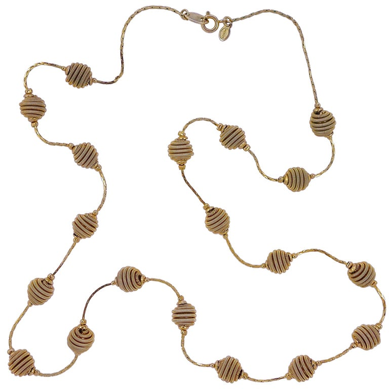 Monet Long Gold Tone Spiral Ball and Chain Necklace