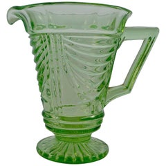 Sowerby Green Art Deco Pressed Glass Jug