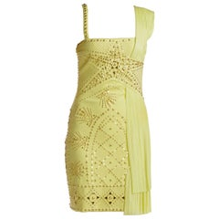 S/S 2012 VERSACE Yellow studded plissé and scuba-jersey dress