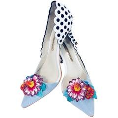 Sensational Sophia Black & White Polka Dots Dorsay Pumps w/ Embellished Flowers
