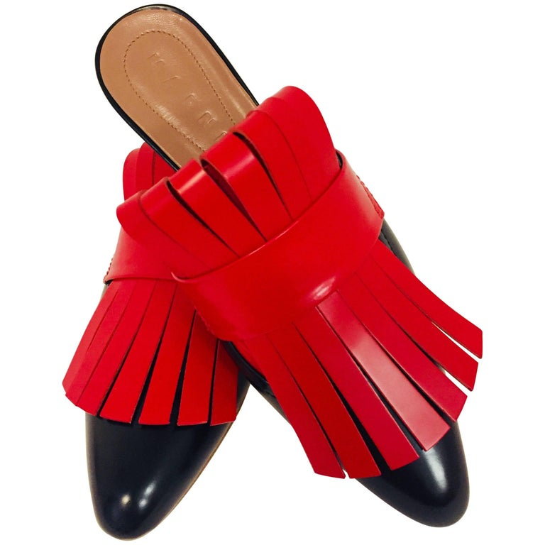 Marvelous Marni Black & Red Leather Flat Slippers