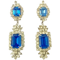 Mid-20th Century Pair Of Austrian Crystal & Faceted Glass Chandelier Earrings