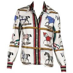 Hermes Multicolor Vintage Equestrian Blouse