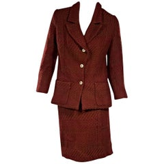 Chanel Red and Brown Vintage Skirt Suit Set