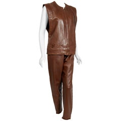 1984 Gianni Versace Couture Studded Brown Leather Vest and High Waist Pants