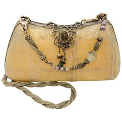 Maya Beige Resin Silver Tone Shoulder Strap and Hardware