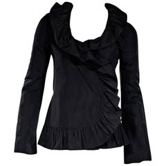 Dolce & Gabbana Black Ruffle Trim Jacket