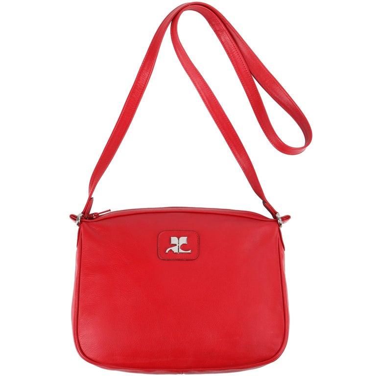 "Vintage COURREGES True Red Leather ""AC"" Logo Crossbody Bag Purse"