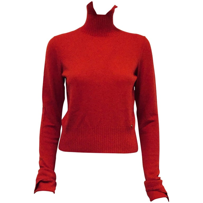 Comfy Chanel Red Cashmere Sweater with Pointed Up Collar and Long Sleeves