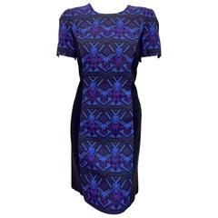 Very Versace Multi Color Print  Dress with Full Length Gold Tone Back Zipper