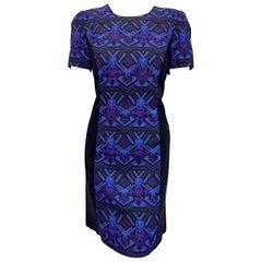 Versace Multi Color Print  Dress w/Full Length Gold Tone Back Zipper Size 10 US