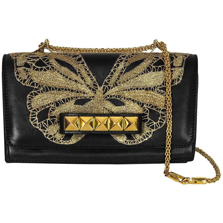 65120f4b0c Valentino Black Leather Embroidered Butterfly Va Va Voom Bag For Sale