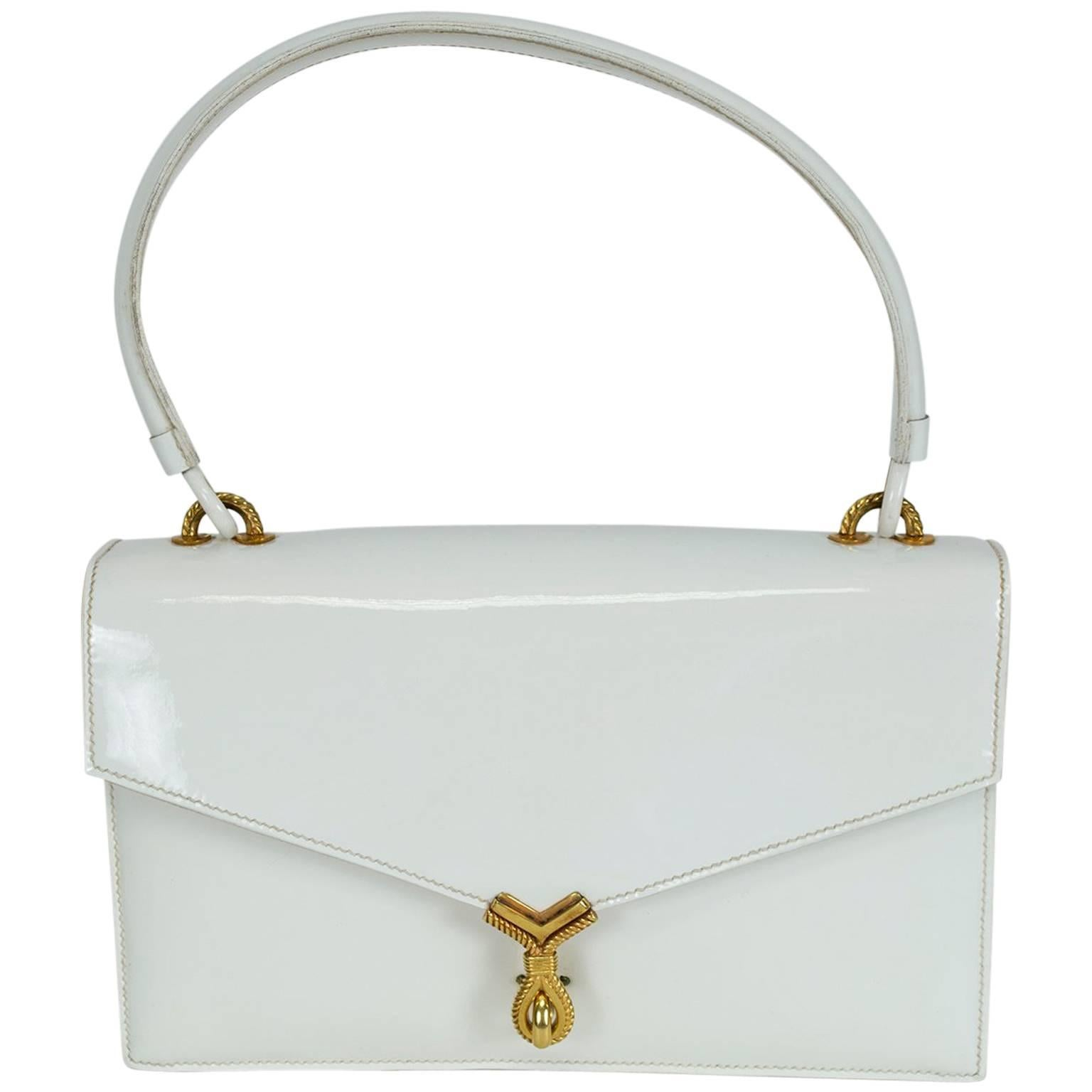 Vintage Hermès Sac Cordelière White Patent Leather Envelope Handbag- 25 cm, 1951
