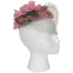 Gilbert Orcel Rose Petal Cocktail Hat with Veil, 1950s