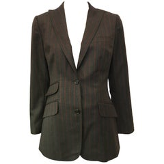 Dolce & Gabbana Gray Wool Fitted Striped Blazer