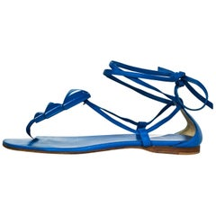 Hermes Blue Leather Wrap Sandals Sz 38 with DB