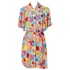 Yves Saint Laurent Rive Gauche Patterned Silk Shirt Dress
