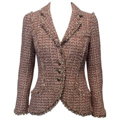 Chanel Beige Rose Tweed Jacket With Fringe Trim Sz34 (Us2)