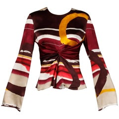 Christian Lacroix Abstract Printed Striped Silk Bell Sleeve Top/Shirt/Blouse