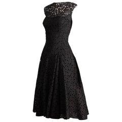 1950s Estevez Vintage Black Eyelit Lace Sleeveless Full Sweep Cocktail Dress