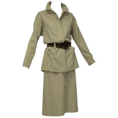 Christian Dior Demi Couture Khaki Safari Suit, late 1960s