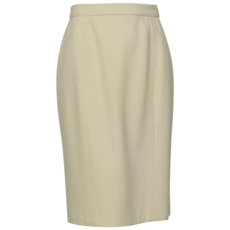 Chanel Ivory Textured Wool Knee Skirt, 1998