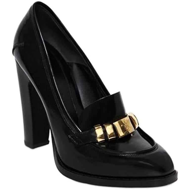 New Alexander McQueen Black Brushed Leather Pumps Gold Logo 36 37 38.5 39 40