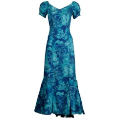 Rare 1940s-1950s Alfred Shaheen Blue + Gold Novelty Hawaiian Tikki Print Dress