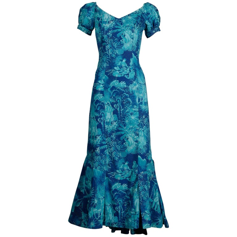 Rare 1940s-1950s Alfred Shaheen Blue + Gold Novelty Hawaiian Tikki Print Dress