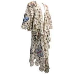 Hand-Crocheted Lace Duster with Calico Quilt Butterfly Applique